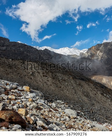 The harsh landscape about the Renjo Pass (5360 m) - Nepal, Himalayas