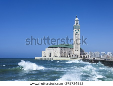 The Hassan II Mosque in Casablanca is the largest mosque in Morocco  - stock photo