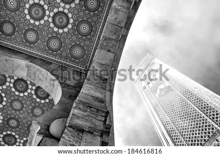 The Hassan II Mosque, located in Casablanca is the largest mosque in Morocco and the third largest mosque in the world - stock photo
