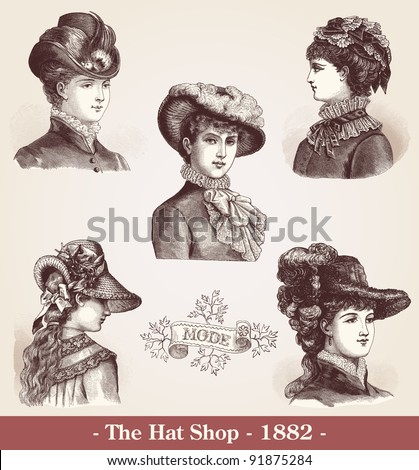 "The Hat Shop  - Vintage engraved illustration  - ""La mode illustree"" by Firmin-Didot et Cie in 1882 France - stock photo"
