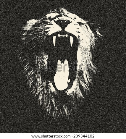 The head of a yawning lion, isolated on black background. The King of beasts shows his huge fangs. Great for user pic, icon, label or tattoo. Amazing illustration in grunge style. Zodiac symbol.  - stock photo