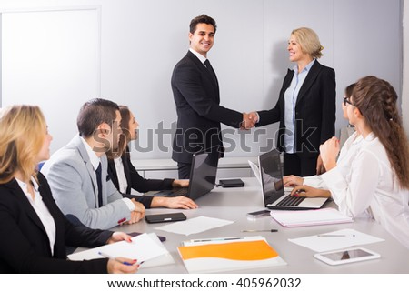 The head of office positive greeting new business partner