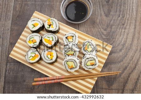 The healthy choice - sushi for vegan and vegetarian with vegetables.