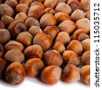 The heap of hazelnuts close-up - stock photo