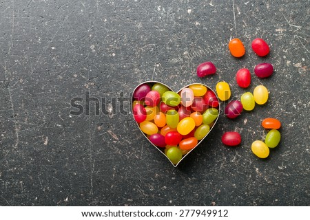 the heart made from jelly beans - stock photo