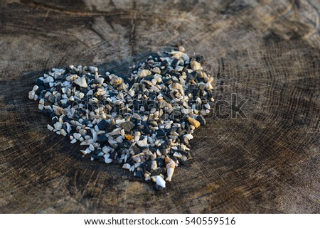 the heart of a small pebble on a wooden stump