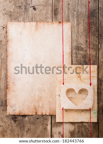 the heart of the old paper on board background