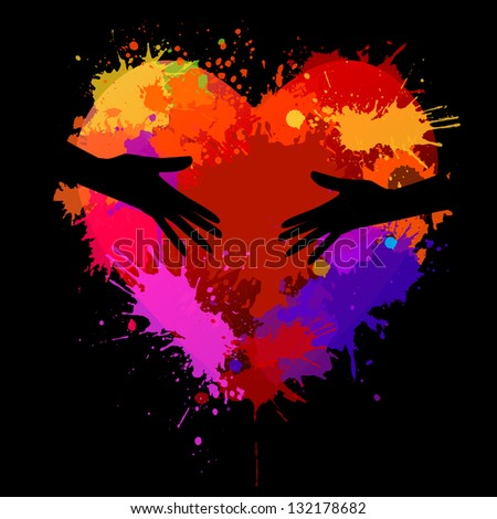 The heart of the stain in the hands . Raster - stock photo
