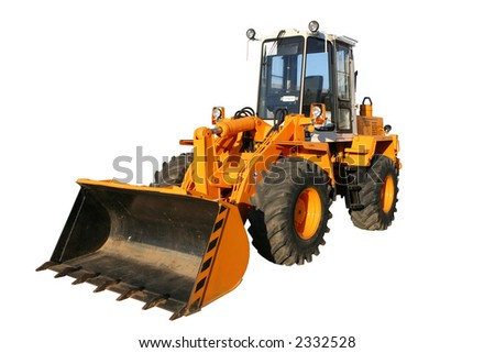 The heavy building bulldozer of yellow color on a white background, Isolated - stock photo