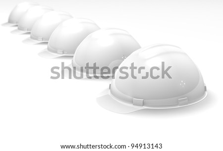 The helmets, built abreast on a white background - stock photo