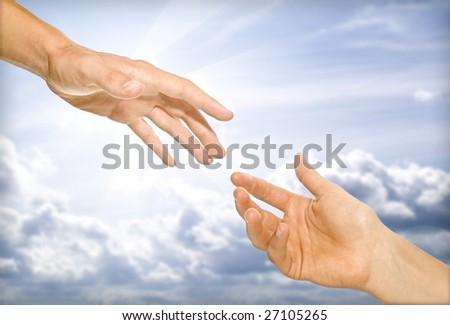 the helping hand (cooperativeness concept image) - stock photo