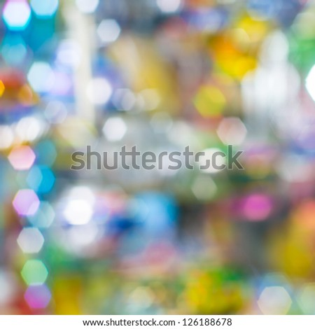 The hexagon bokeh in variety colorful light