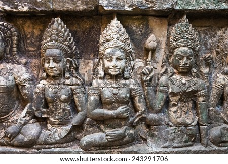 The Hidden Wall, Terrace of the Leper King, carvings of Nagas and Deities of the underworld, Angkor Wat, Siem reap. Cambodia - stock photo