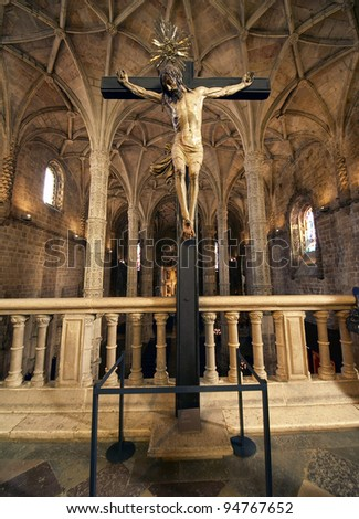 The Hieronymites Monastery (Mosteiro dos Jeronimos), located in the Belem district of Lisbon, Portugal. Typical example of the Manueline style (Portuguese late-Gothic). UNESCO World Heritage Site. - stock photo