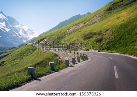 the high alpine road on Summer - Austria - stock photo