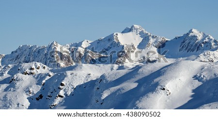 The High and Snowy Peak of Mt Murchison as Viewed from Mt Bealey. 