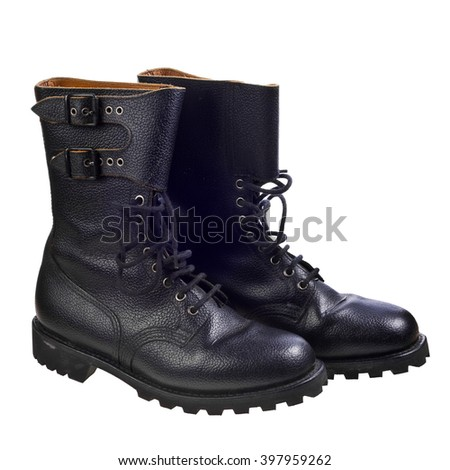 The high black leather boots isolated on white background - stock photo