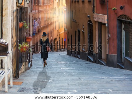 The high narrow house and Genoa is a historical port of city in northern italy - stock photo