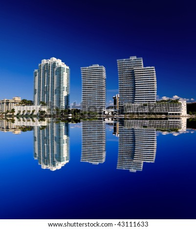 The high-rise buildings in Miami Beach Florida - stock photo
