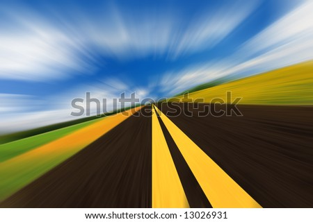 The high-speed autobahn with blurred motion - stock photo