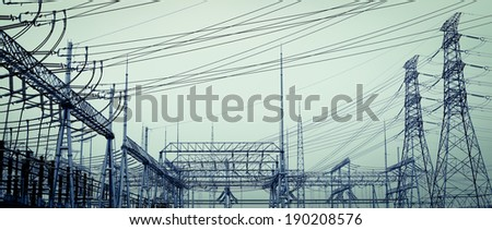 The high-voltage power transmission towers