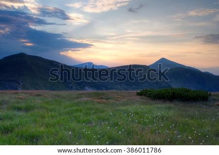 The highest mountain of Ukraine Hoverla 2061 m. Chornogora ridge, Ukraine. - stock photo