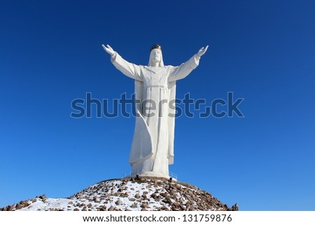 The highest on the world Christ the King Monument, Poland - stock photo