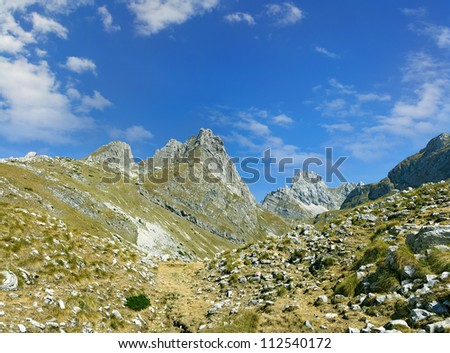The highest peaks of the National Park Durmitor Mountains, Montenegro, World Heritage Site by UNESCO - stock photo