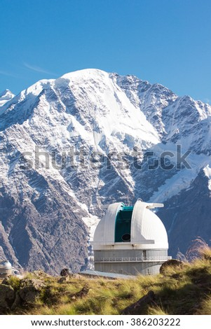 The highest point in Europe. Elbrus 5642 meters. Kavkaz. Observatories in mountains - stock photo