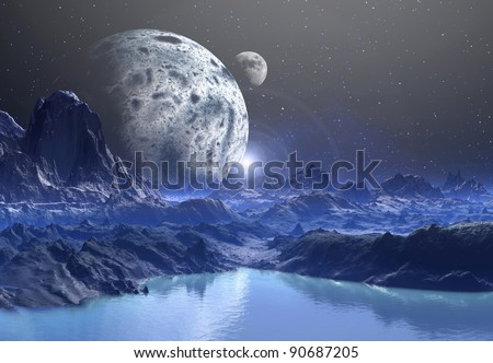 The Highlands Of Nidora, mountains and lakes on an alien planet - stock photo
