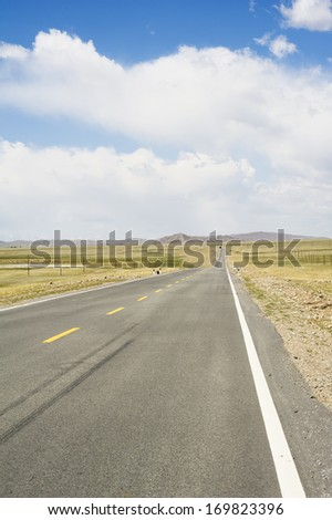 The highway in the grassland of Xinjiang
