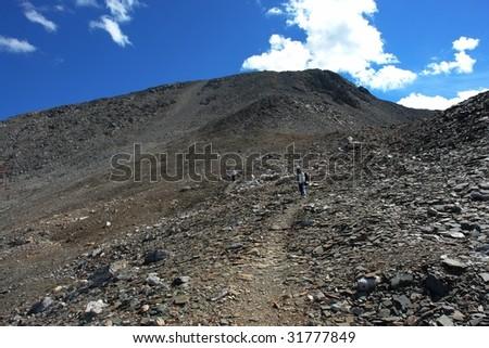 the hiking trail beside mountain edith cavell, jasper national park, alberta, canada - stock photo