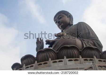 The hilight of Hong Kong, Big Buddha on the top of mountain. - stock photo
