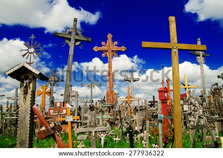 The Hill of Crosses (Kryziu kalnas), a famous site of pilgrimage in northern Lithuania. - stock photo