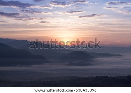 The hills in the morning fog landscape