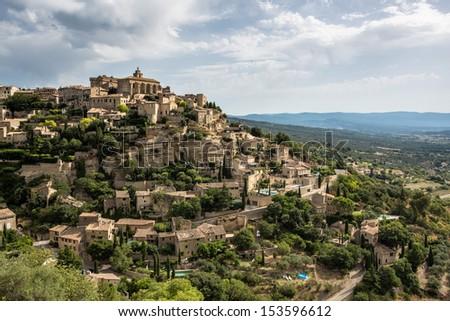 The hillside village of Gordes in Provence - stock photo