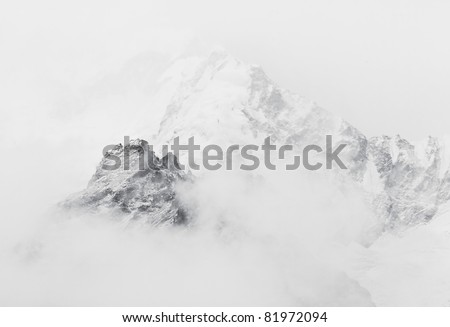 The himalayan peak near Mt. Everest in the fog