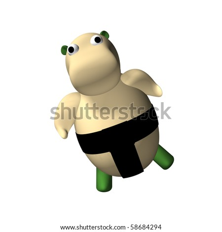 The hippopotamus fighter Sumo is kneaded before struggle, 3d, a white background.