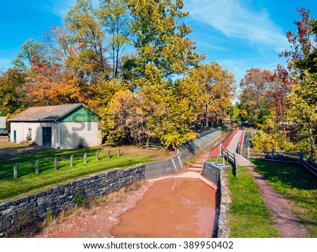 The historic Aqueduct Delaware Canal located in Pt Pleasant, Buck County Pennsylvania. - stock photo