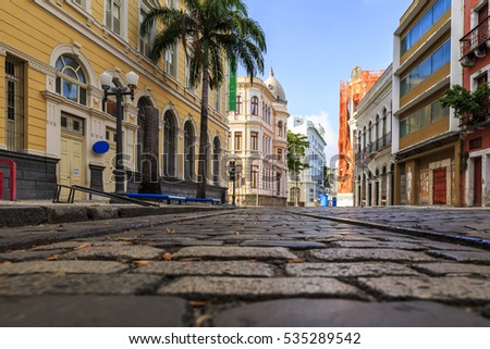 The historic architecture of Bom Jesus street in Recife, PE, Brazil with its cobblestones and buildings dated from the 17th century.