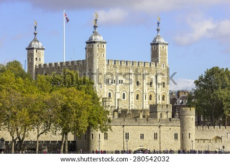 The historic castle Tower of London with a view of the Traitors Gate, UK - stock photo