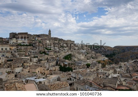 "The historic center of Matera with the so called ""Sassi"" houses. - stock photo"