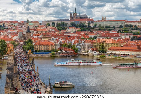 The historic center of Prague, ancient architecture, and cultural heritage/General view of Prague's historic center and the river Vltava - 3 - stock photo