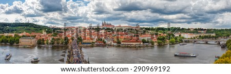The historic center of Prague, ancient architecture, and cultural heritage/General view of Prague's historic center and the river Vltava  - stock photo