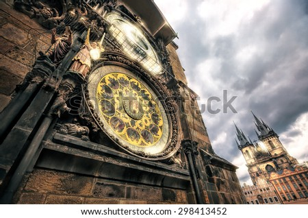 The historic center of Prague, ancient architecture, and cultural heritage/Prague Tower and Astronomical Clock on  the Old Town Hall - stock photo