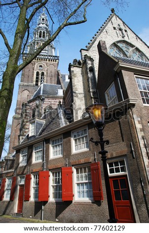 The historic church in the old town of Amsterdam (The Netherlands). - stock photo