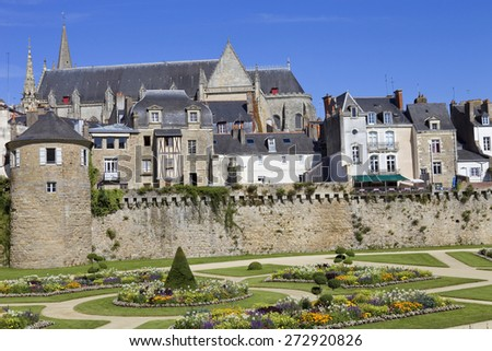 The historic city of Vannes in Brittany, France - stock photo