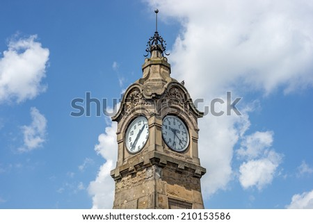 "The historic clock ""Pegeluhr"" in Dusseldorf in Germany - stock photo"