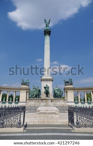 The historic Heroes Square (Hosok tere) in Budapest, Hungary - stock photo