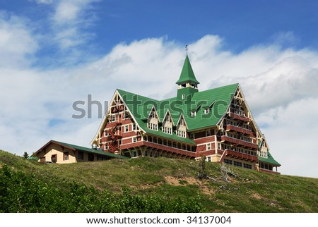 The historic hotel in waterton lakes national park, alberta, canada - stock photo